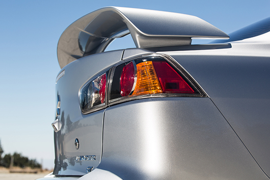 The sporty Lancer rear wing spoiler is available as an accessory on every trim and is standard on GT