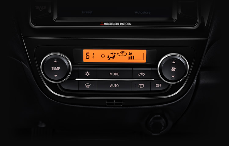 Automatic Climate control display in 2017 Mitsubishi Mirage G4 with heated front seats