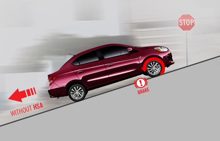 Mitsubishi Mirage G4 Hill start assist wine red sedan
