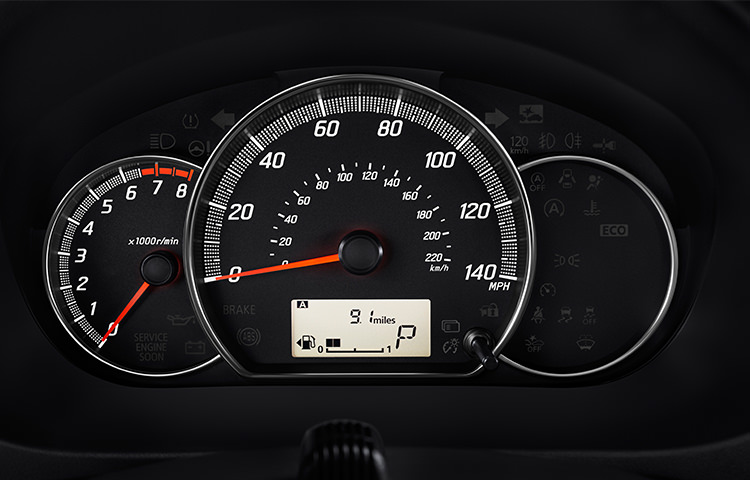 interior view of 2017 Mitsubishi Mirage G4 spedometer and gas gauge