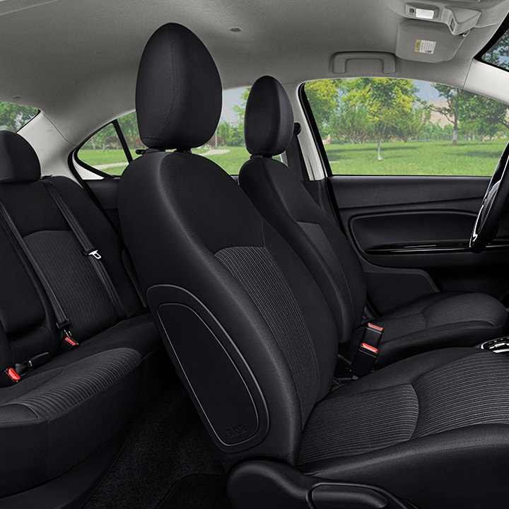 2017 Mitsubishi Mirage G4 black interior seating with best in class leg room
