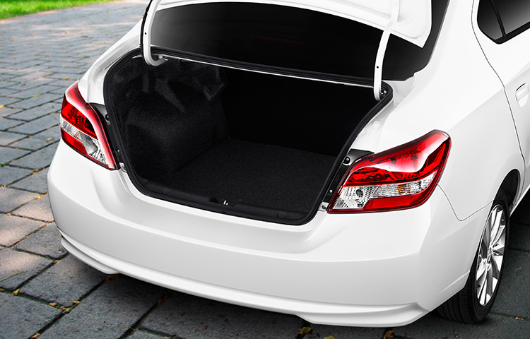 Trunk interior and cargo room for Pearl White 2017 Mitsubishi Mirage G4