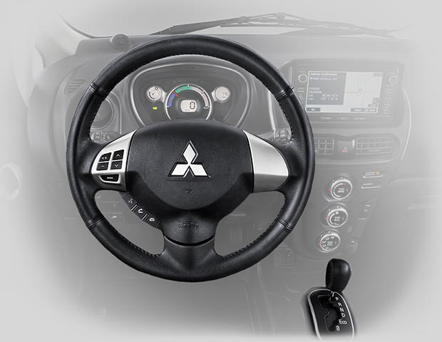 2017 Mitsubishi iMiEV cabin and leather wrapped steering wheel, one of many comfort features