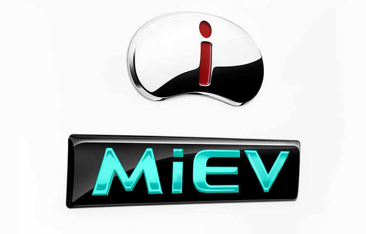 Chrome Mitsubishi i-MiEV logo white background