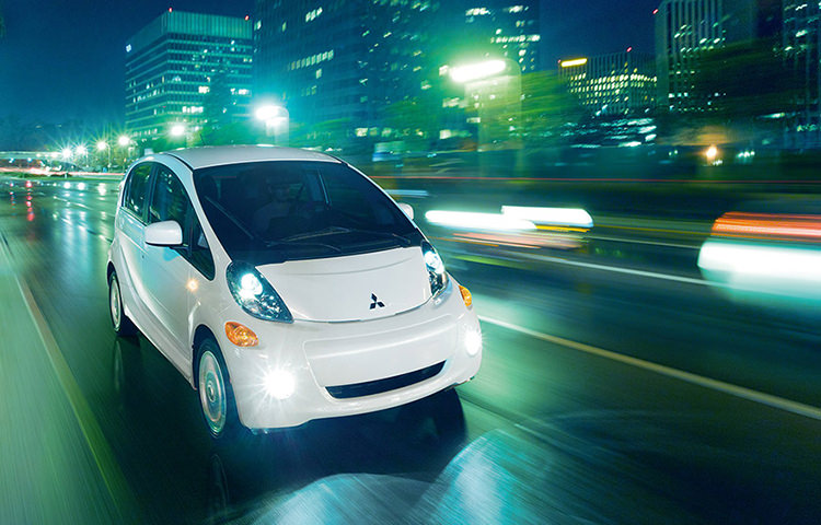 2017 Mitsubishi imiev on street at night