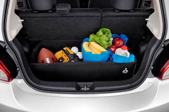 Mitsubishi Mirage accessory and 3 compartment foldable cargo organizer