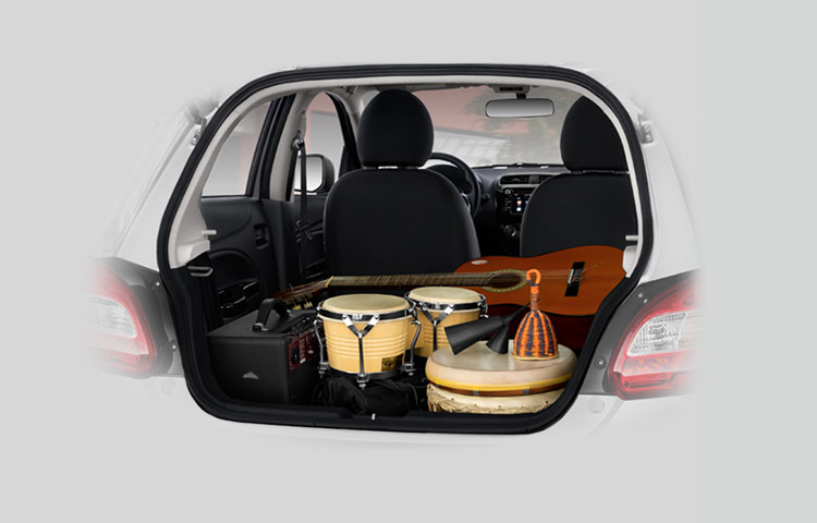 2017 Mitsubishi Mirage trunk and cargo space with musical instruments