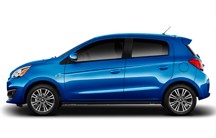 2017 MItsubishi Mirage driver side exterior in sapphire blue