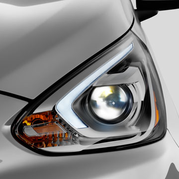 The new 2017 Mirage features exciting design updates like available HID headlights with sleek and stylish light tube.