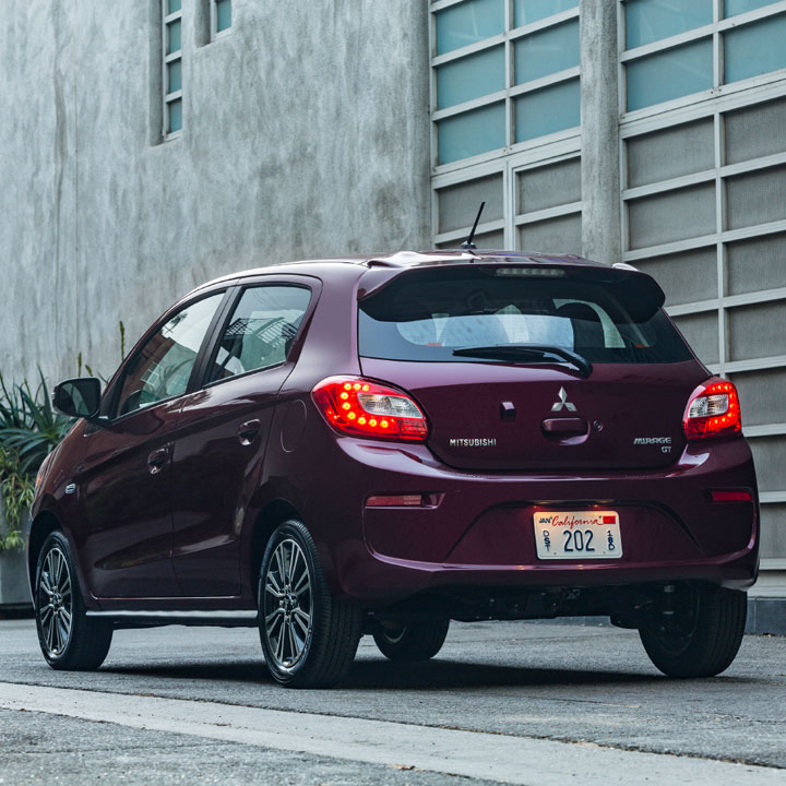exterior rear and trunk on 2017 Mitsubishi MIrage hatchback in Wine Red