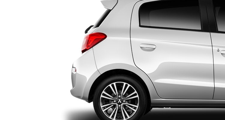 2017 Mitsubishi Mirage hatchback exterior in Starlight Silver