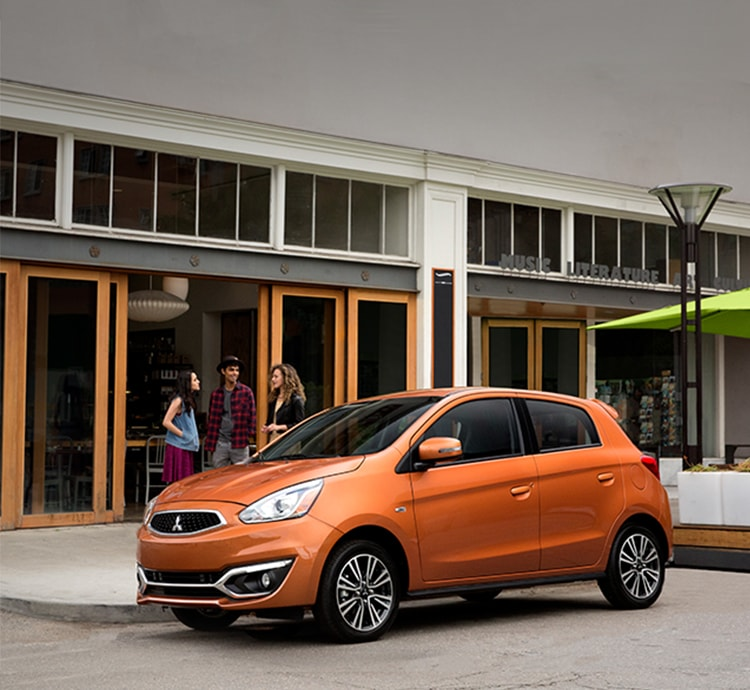 the fuel efficient 2017 Mitsubishi Mirage in Sunrise Orange