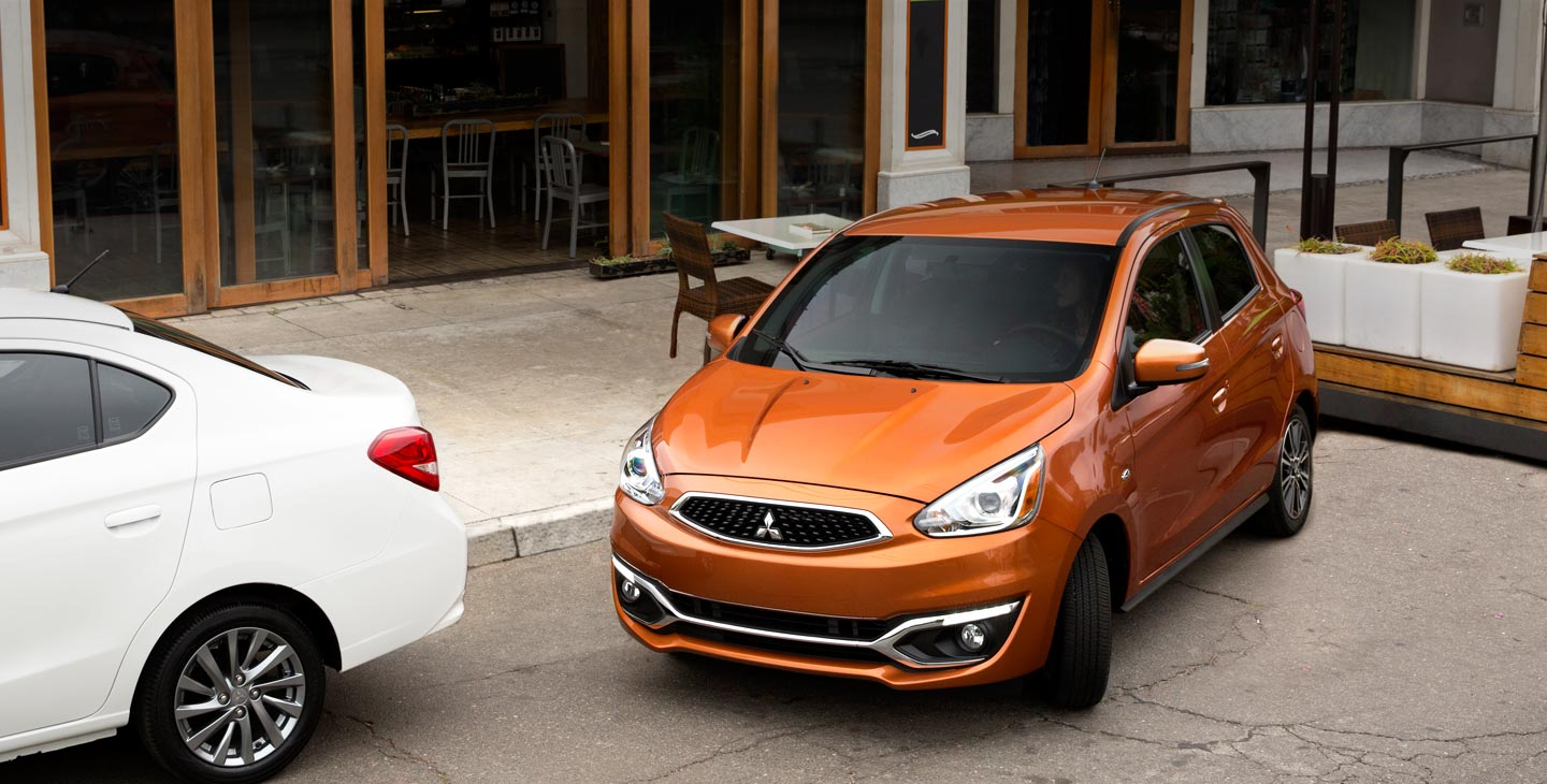 2017 Mitsubishi Mirage compact hatchback best in class turning radius parallel parking