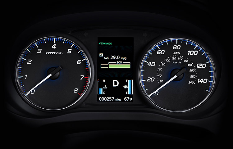 Efficient driving habits are easy with real-time feedback integrated within the gauge cluster.