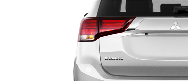 2016 Mitsubishi Outlander Crossover SUV trunk in cool silver