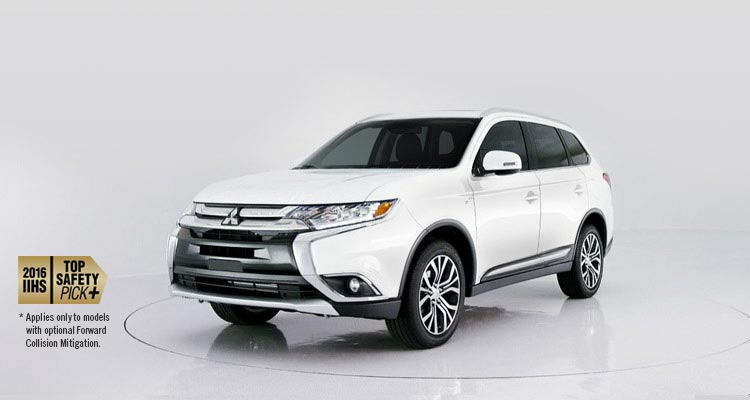 2016 Mitsubishi Outlander CUV and IIHS top safety pick in diamond white